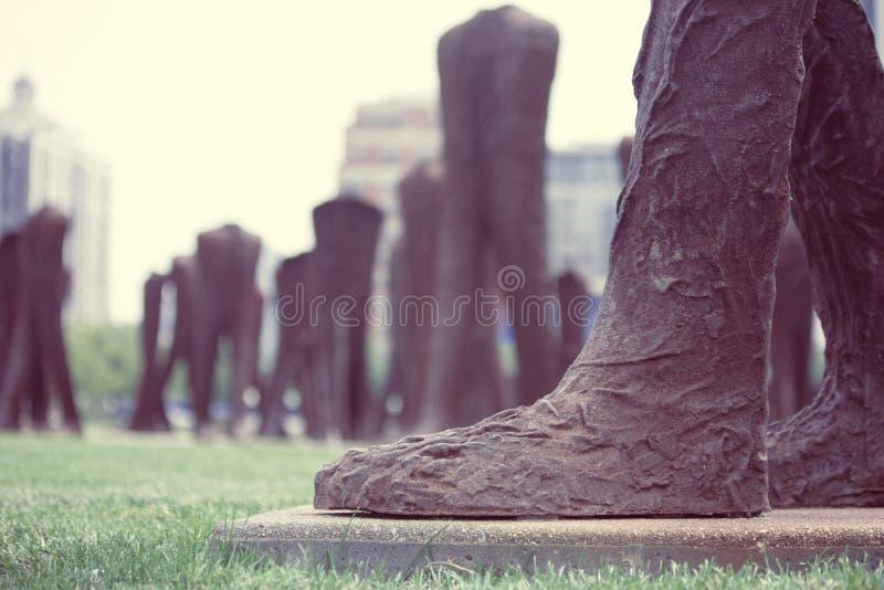 Agora Big Foot Iron Sculpture Brown Grass Statue Grant Park Chicago Artist Magdalena Abakanowicz stock image