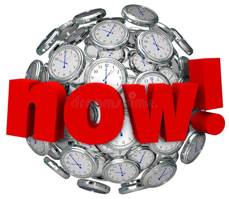 Agora horas da palavra que passa a ação urgente exigida ilustração stock