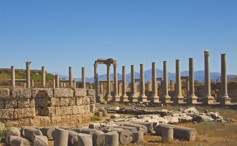 The Agora in Perge Turkey. Ruins of the Agora in Perge Turkey stock photography