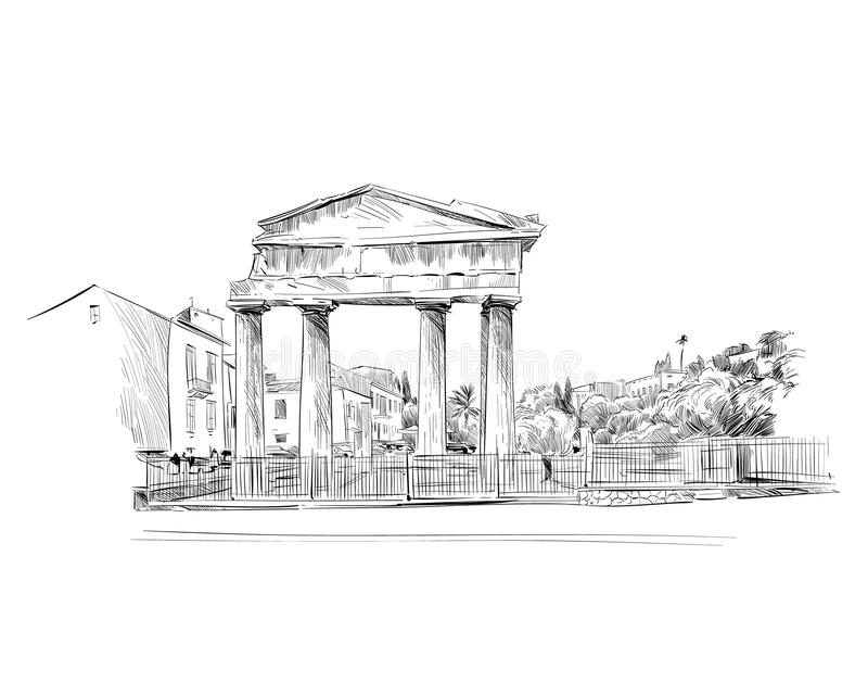 agora rzymska athens Grecja Ręka rysujący nakreślenie również zwrócić corel ilustracji wektora royalty ilustracja
