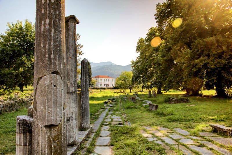 Agora of Thassos Limenas. Ruins of the ancient agora of Limenas, island of Thassos, Greece royalty free stock photo