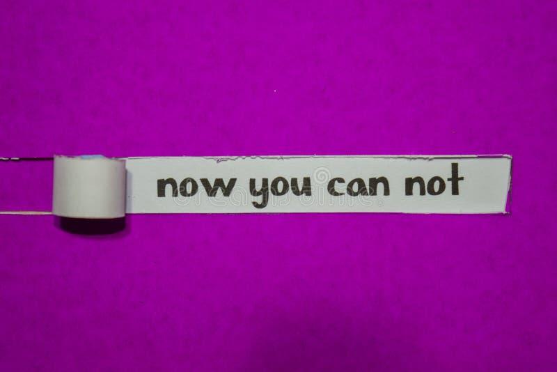 Agora você não pode conceito, da inspiração, da motivação e do negócio no papel rasgado roxo imagens de stock