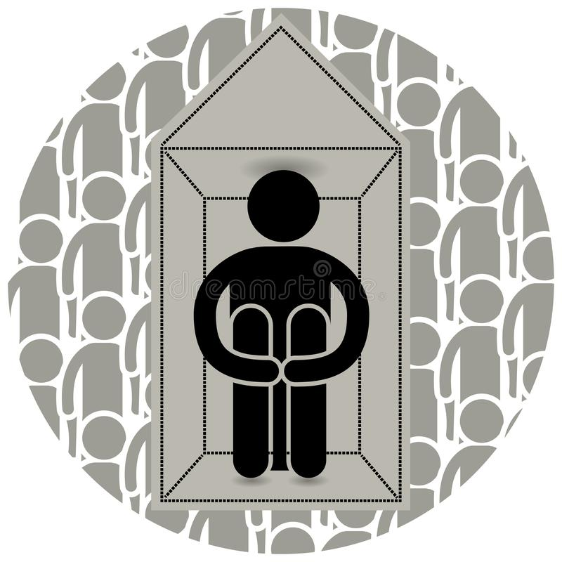 Agoraphobia. Fear of entering open or crowded places. Locked himself at home. Afraid to go outside. Many people. Loneliness. Logo. Icon, silhouette, sticker royalty free illustration