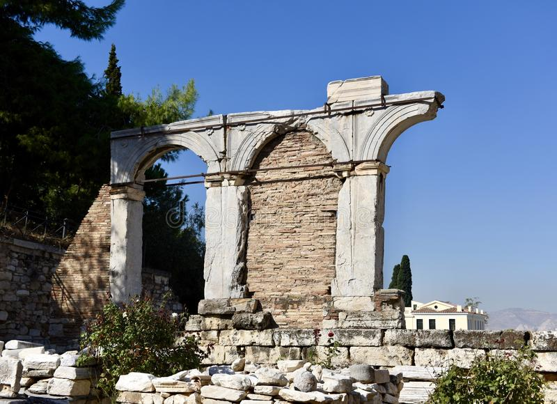 Agororanomeion Ruins. This is a Fall picture of the ruins of the Agoranomeion a public building located in the Roman Agora in Athens, Greece. This structure is royalty free stock photo