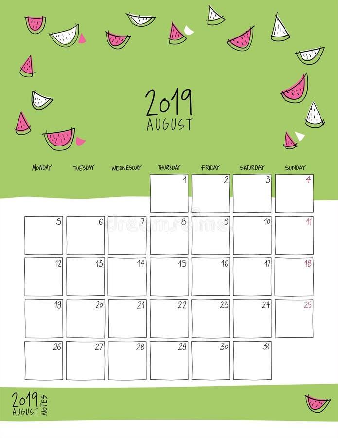 Agosto 2019 calendario murale Doodle lo stile illustrazione di stock