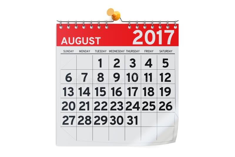 Agosto 2017 calendario, rappresentazione 3D illustrazione di stock