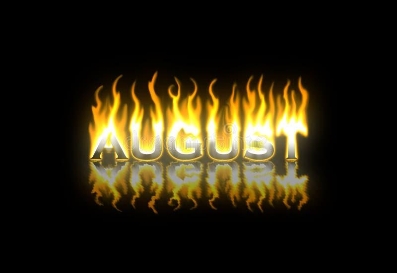 Agosto en el fuego ilustración del vector