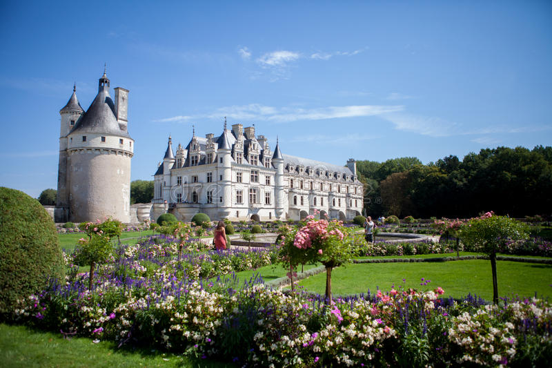 29 AGOSTO 2015, LA FRANCIA: Castello francese Chateau de Chenonceau fotografia stock libera da diritti