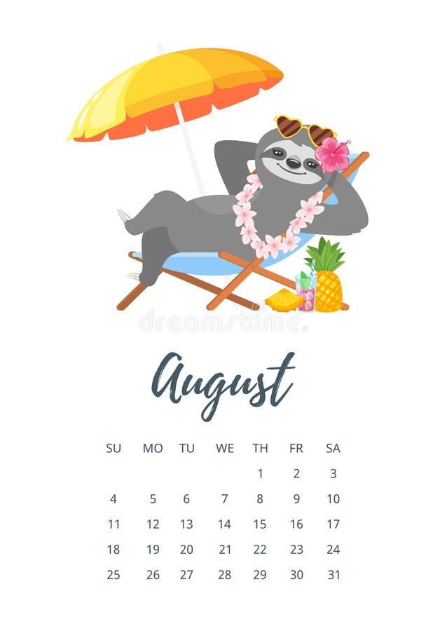 Pagina Calendario Agosto 2019.Agosto 2019 Pagina Del Calendario Di Anno Illustrazione