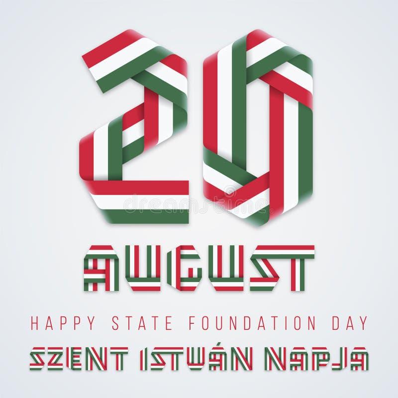 20 agosto, progettazione di congratulazioni di giorno del fondamento dello stato dell'Ungheria con i colori ungheresi della bandi illustrazione vettoriale