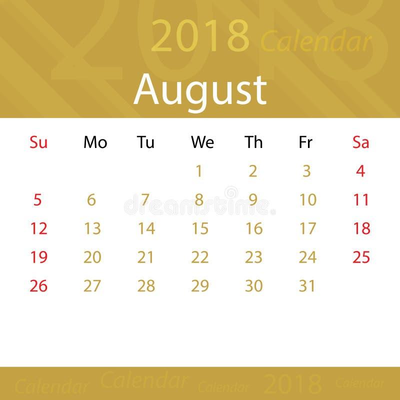 Agosto 2018 super popolare dell'oro del calendario per l'affare illustrazione vettoriale
