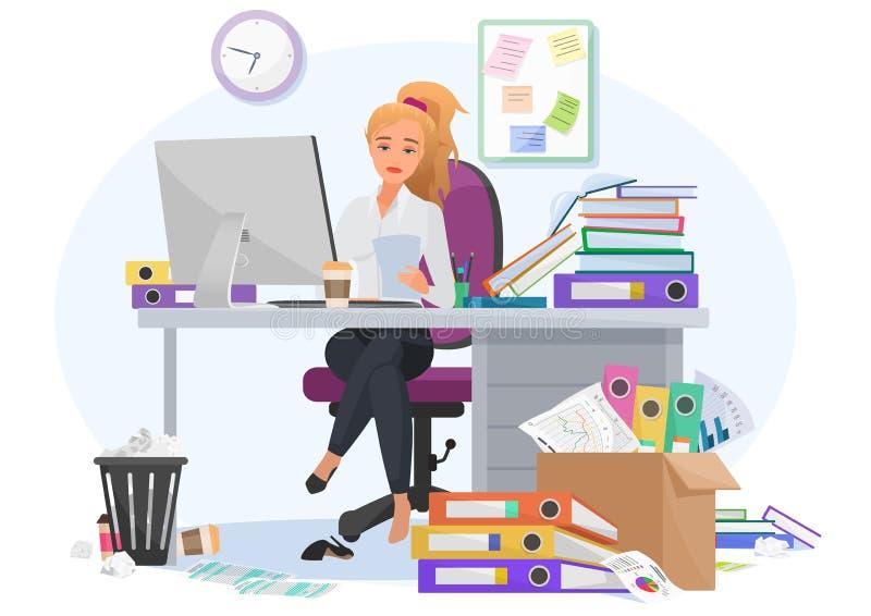 Agotado abrumado por el empleado de sexo femenino joven del trabajo permanece tarde en el trabajo en la oficina Cansado por la mu stock de ilustración