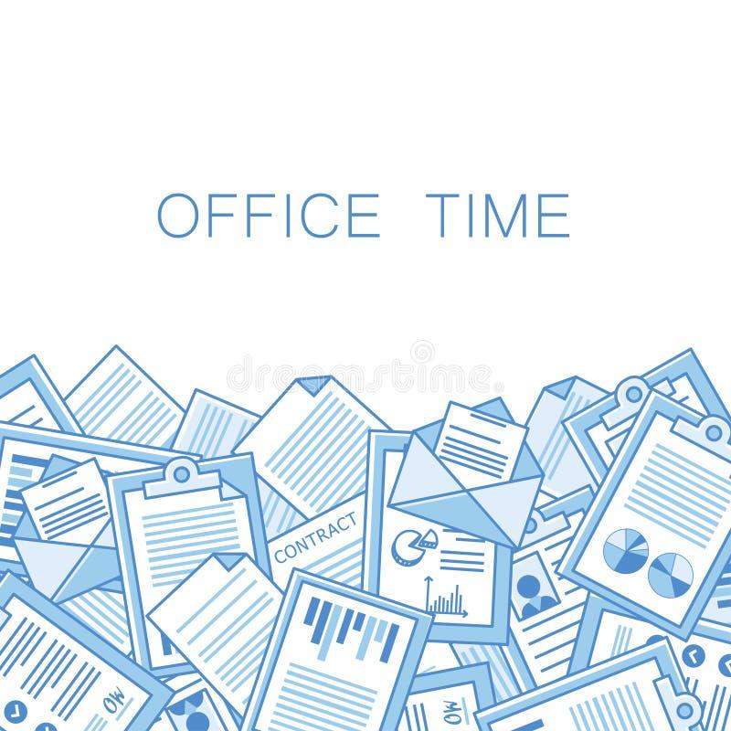 Agotador en oficina con demasiada pila de papeles stock de ilustración