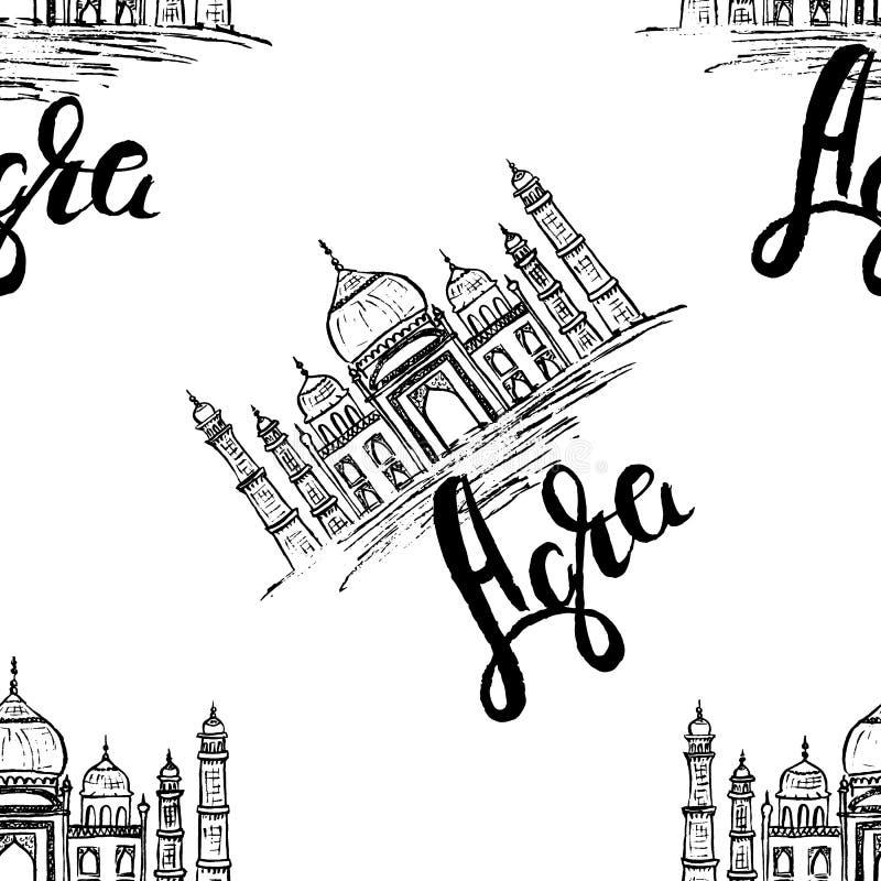 Agra etikett med handen som dras Taj Mahal som märker Agra stock illustrationer
