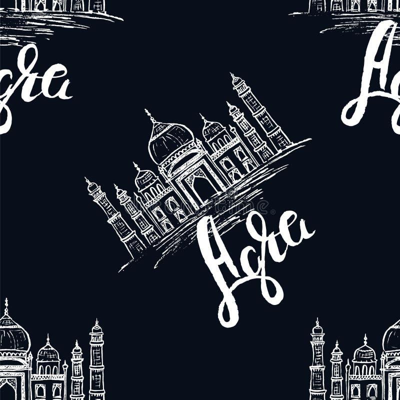 Agra etikett med handen som dras Taj Mahal som märker Agra på mörker - blå bakgrund stock illustrationer