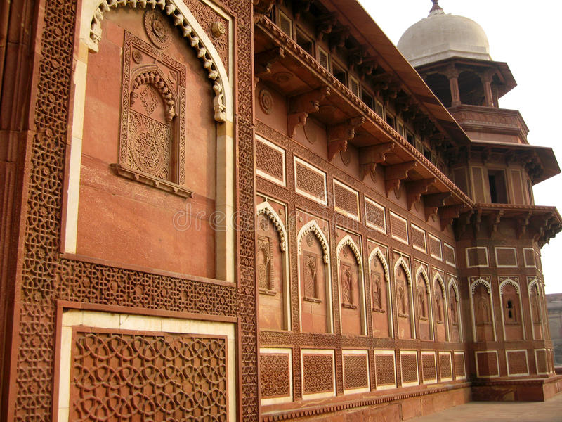 Agra Fort. Intricate carvings decorate the Agra Fort in Agra, India stock images