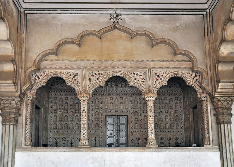 Agra Fort - Balcony for Emperor and Peacock Throne. The Fort at Agra Akbar is among the many Mughal Architectural highlights to be seen in Agra. The richness and stock photos