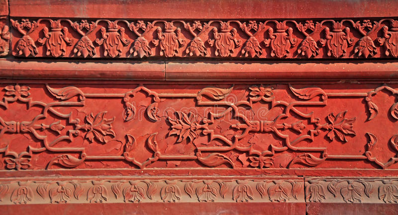 Agra Fort - Carved Stone Panel royalty free stock image