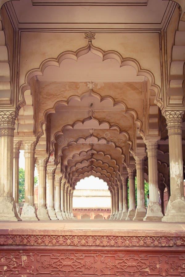 Agra-Fort - Diwan bin ich (Hall des allgemeinen Publikums) stockbild