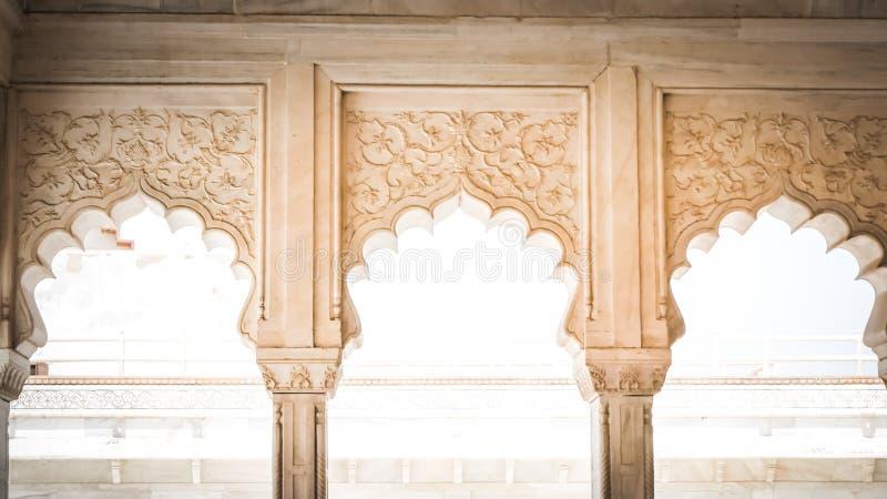 Agra-Fortweiße Marmorarchitekturdetails in Agra, Indien lizenzfreies stockfoto