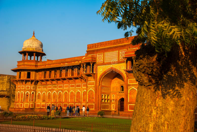 AGRA, INDIA. Agra Fort. Tourists at entrance to Agra Fort, Agra, Uttar Pradesh, India royalty free stock images