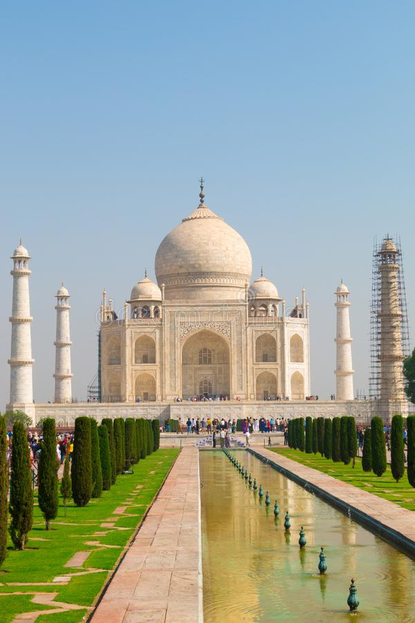 The Taj Mahal; an ivory-white marble mausoleum, one of 7 wonders stock images