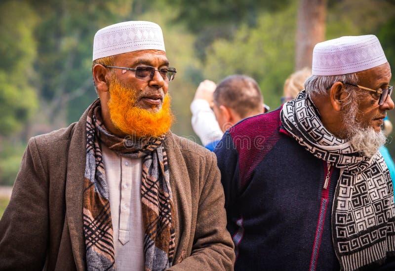 AGRA-INDIA-FEB 14, 2019-Traditional Indiańscy mężczyźni z pomarańcze farbować brodami henna, odwiedzają Taj Mahal obraz stock