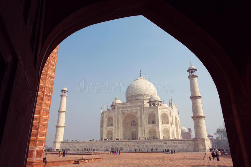 AGRA, INDIA - JAN 10: Taj Mahal Mousoleum in Agra on January 10, 2015.Taj Mahal it was built by Mughal emperor Shah Jahan in memo. Ry of his third wife, Mumtaz stock photo