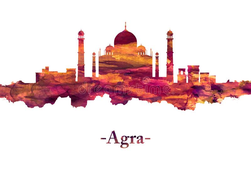 Agra India Skyline in Red. Red skyline of Agra city in northern India's Uttar Pradesh state It`s home to the iconic Taj Mahal vector illustration