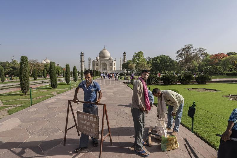 AGRA INDIA 2016: Workers getting ready to start repair work inside Taj Mahal, Agra, India royalty free stock images