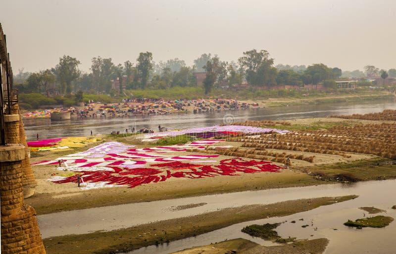 Agra Indien auf Fluss stockbilder