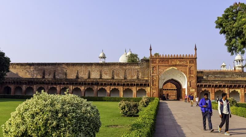 Agra Red Fort garden and gate - Agra, Uttar Pradesh, India. Agra Red Fort garden and gate in Agra, Uttar Pradesh, India stock images