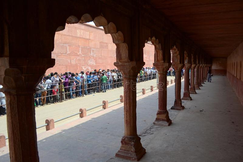Crowd of people standing in line to Taj Mahal stock photo