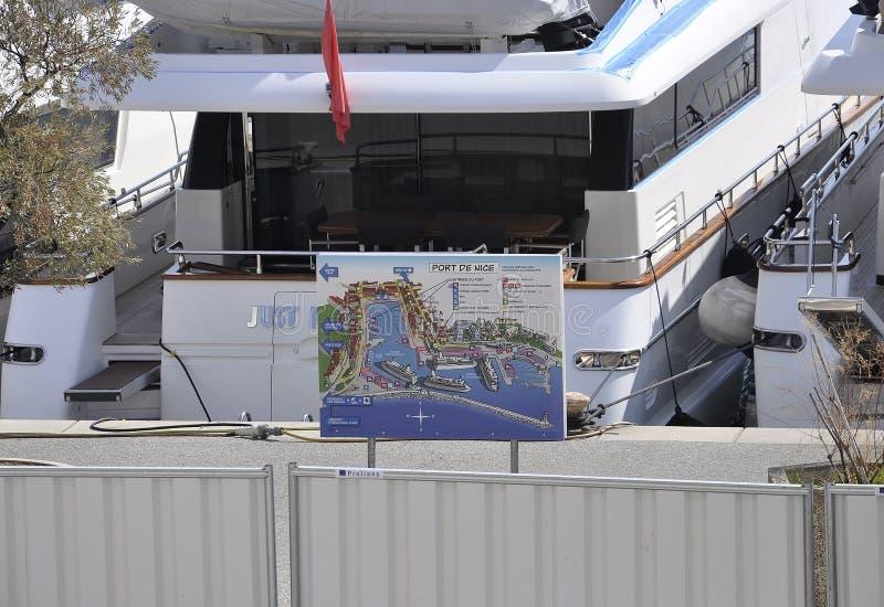 Agradável, o 5 de setembro: Lympia portuário do mapa agradável de Riviera francês foto de stock