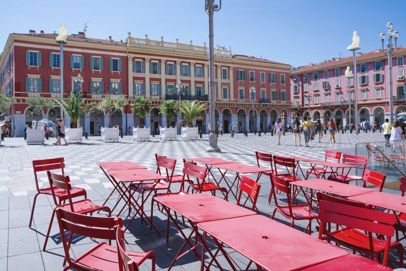 Agradável, Provance, Alpes, Cote d'Azur, francês, o 31 de julho de 2018; Uma ideia do quadrado de Massena do lugar em agradável c fotos de stock