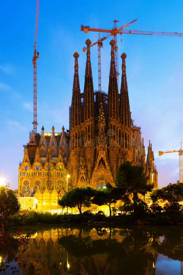 Agrada Familia in sunset. Barcelona. BARCELONA, SPAIN - SEPTEMBER 13, 2014: Sagrada Familia in sunset. Barcelona. Basilica and Expiatory Church of Holy Family by royalty free stock photo
