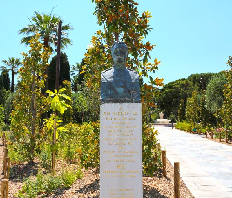 Agradable, Francia - 19 de junio de 2014: Estatua Albert 1er fotografía de archivo