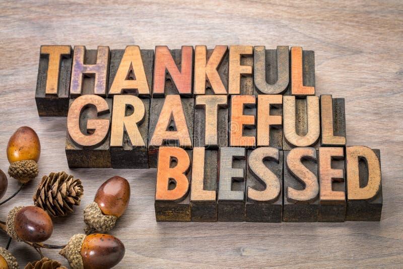 Agradecido, agradecido, bendecido - tema de la acción de gracias