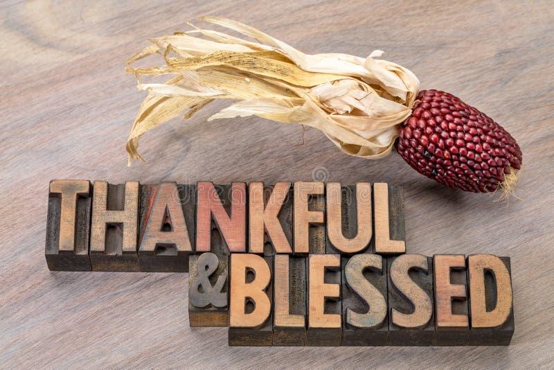 Agradecido y bendecido - tema de la acción de gracias imagen de archivo libre de regalías
