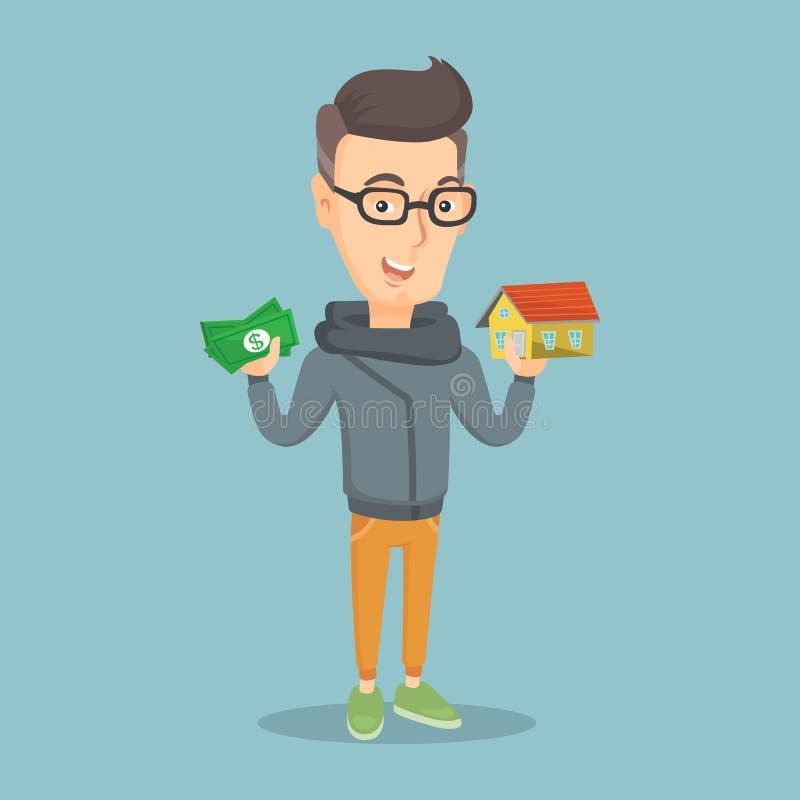 Agradecimentos de compra da casa do homem caucasiano ao empréstimo ilustração stock