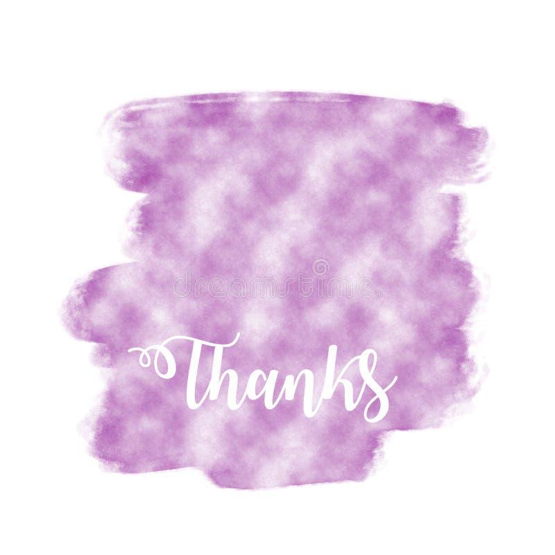 Agradecimentos escritos na textura roxa do watercolour com espaço da cópia ilustração stock