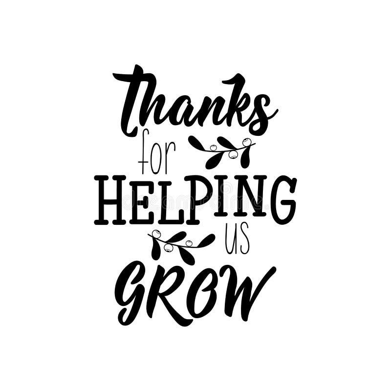 Agradecimentos para ajudar-nos a crescer Ilustra??o do vetor lettering Ilustra??o da tinta ilustração royalty free