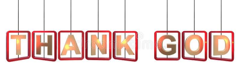 Agradezca el colgante de las letras de dios ilustración del vector