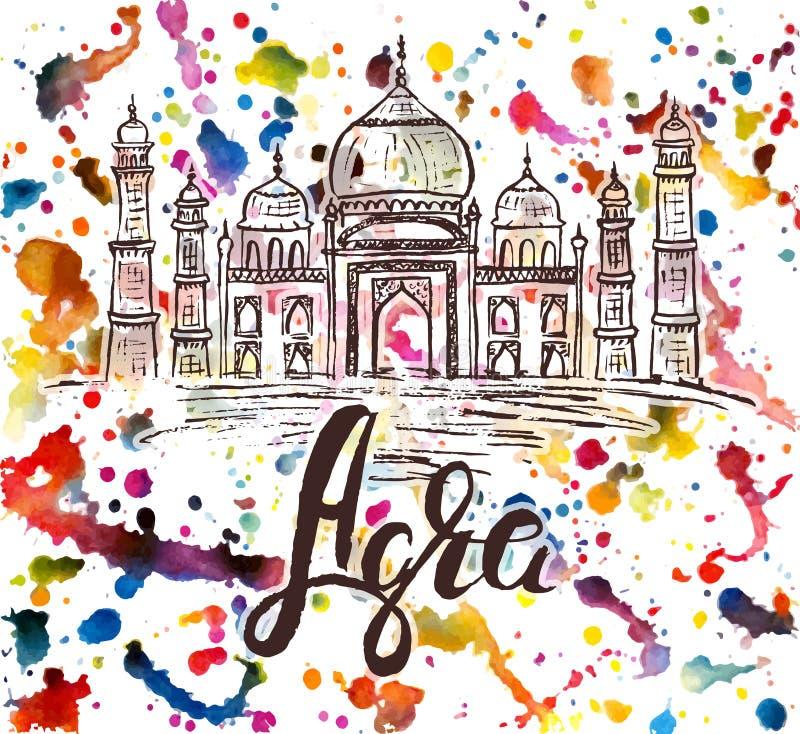 Agraetiket met hand getrokken Taj Mahal, het van letters voorzien Agra op waterverfachtergrond stock illustratie