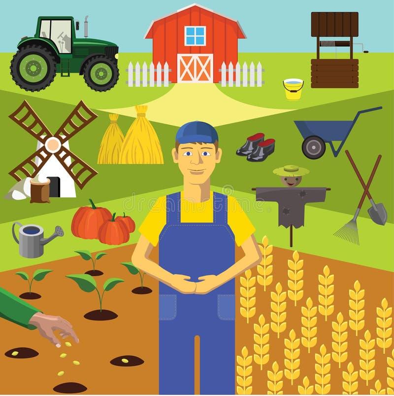 Agrafe art Éducation d'Infographics Profession de l'agriculteur illustration stock