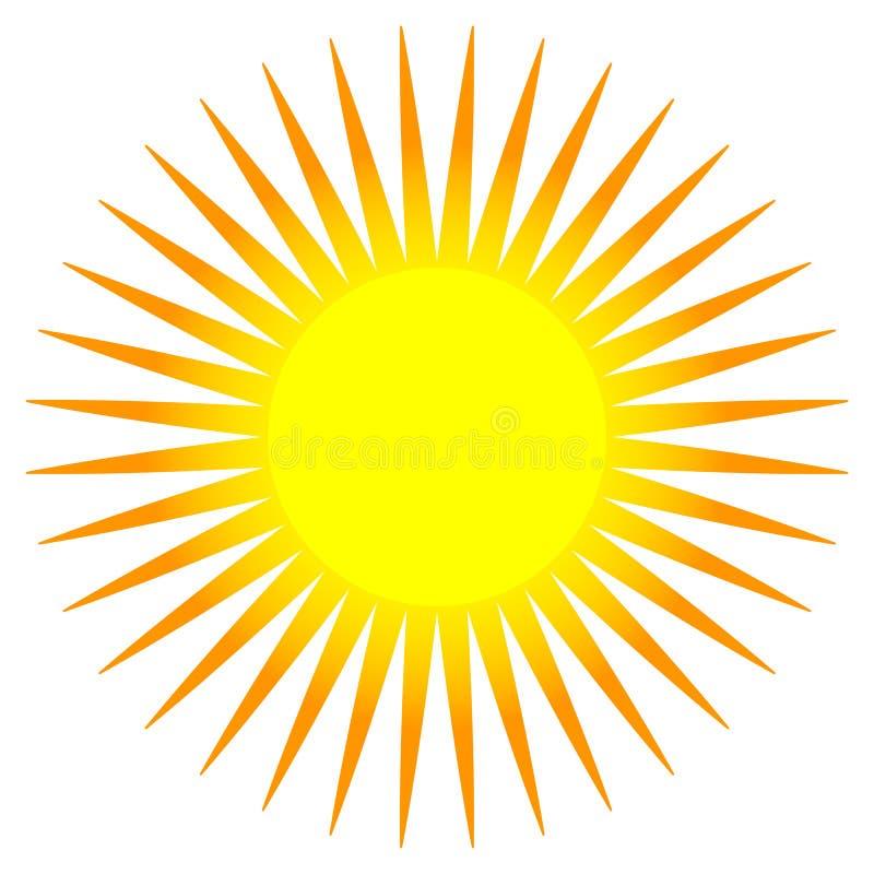 Agrafe-art plat simple du soleil, icône du soleil avec la couronne énervée illustration de vecteur