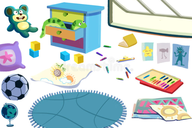Agrafe Art Set : Les objets de pièce d'enfant : Jouets, football, livre, crayon de couleur, Cabinet etc. illustration stock