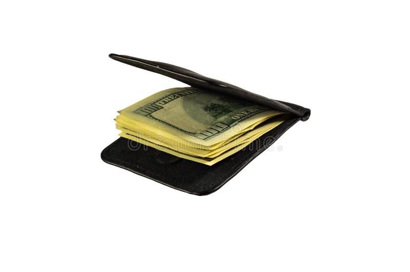 Agrafe d'argent avec cent dollars de billets de banque d'isolement sur le blanc image libre de droits