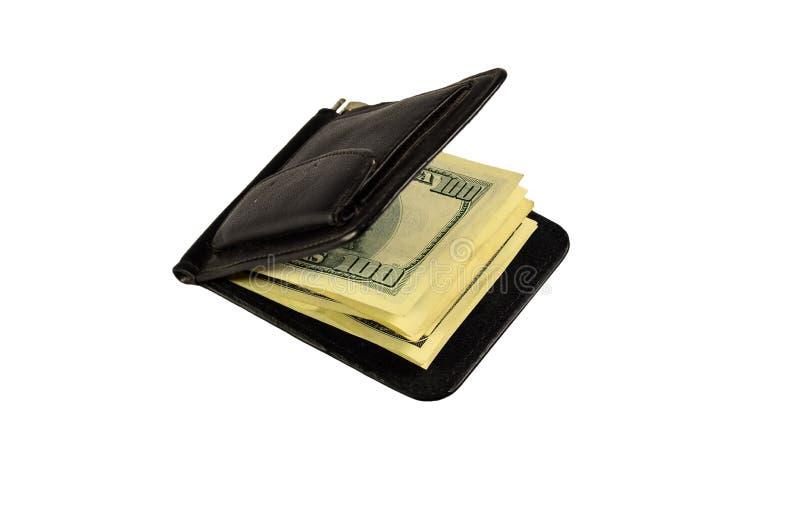 Agrafe d'argent avec cent dollars de billets de banque d'isolement sur le blanc photos stock