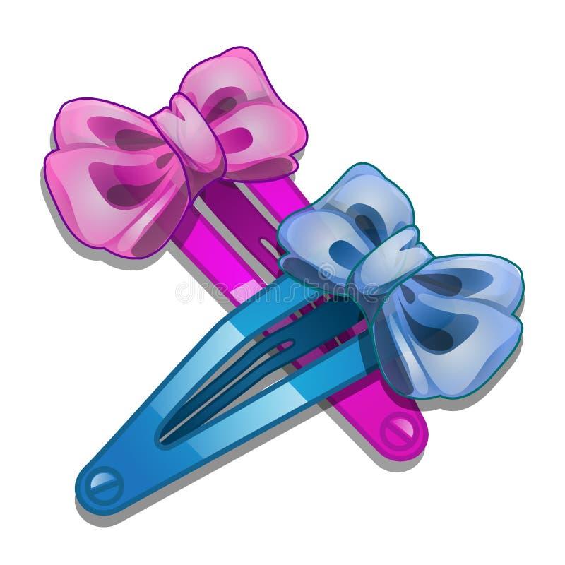 Agrafe de cheveux bleue et rose de femmes avec l'arc illustration de vecteur